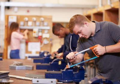 College Students Training To Become Electricians